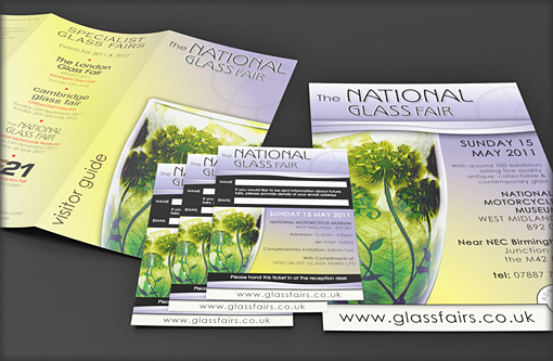 Client: Specialist Glass Fairs Ltd - Leaflet, flyer & ticket designs